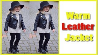 Children's Warm Leather Jacket For Girls Boys and Kids 2018