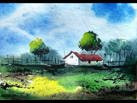 Watercolor Painting For Beginners – Village House Landscape Tutorial