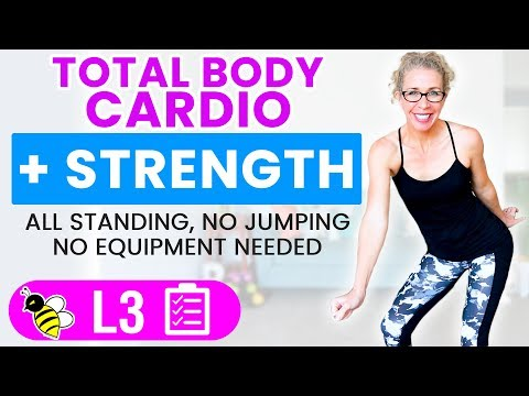 FUN 30 Minute CARDIO + STRENGTH, Barefoot Low Impact Workout Without Equipment