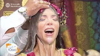 Sheyla Rojas se quedó sin pestañas tras baño de florecimiento