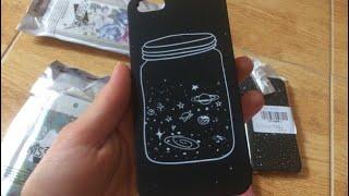 Чехлы на IPhone 5, 5s, 6, 6s, 7 с Алиэкспресс. Распаковка посылок/ космос в банке