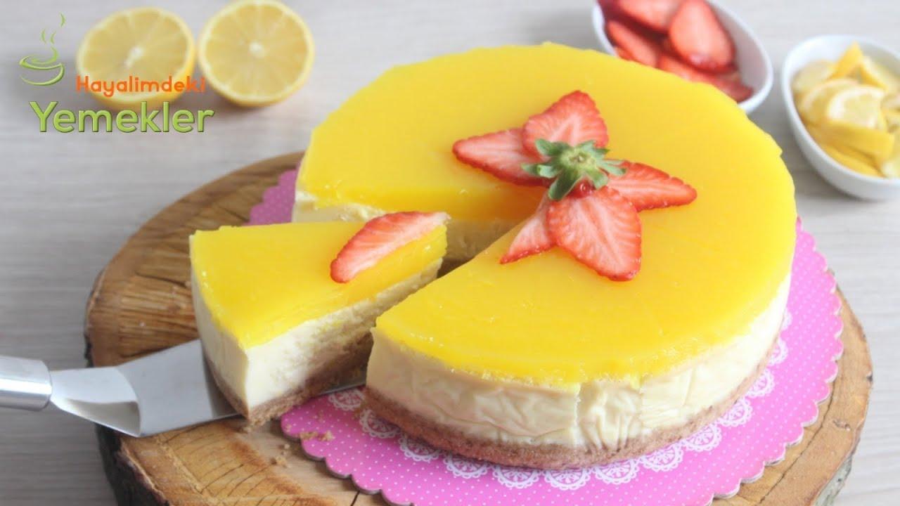 Enfes Sosuyla Limonlu CHEESECAKE Tarifi- Cheesecake Nasıl Yapılır, ( Çizkek)
