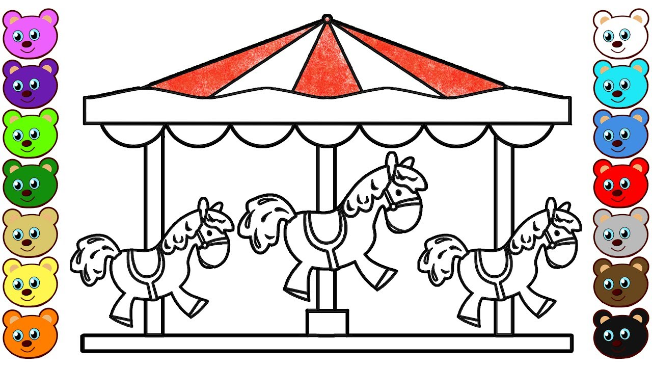 Carousel Horses Coloring Pages For Toddlers Youtube