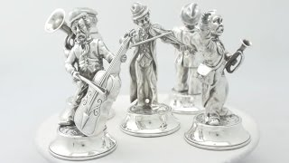 Spanish Sterling Silver 'Musical Quintet' Table Ornaments - Vintage 1974 - AC Silver (A4131)