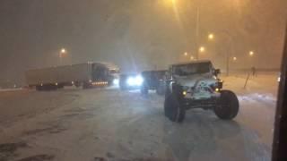 3 jeeps rescue semi truck