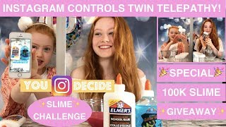 INSTAGRAM CONTROLS OUR TWIN TELEPATHY SLIME CHALLENGE! | 100K SLIME GIVEAWAY | Ruby and Raylee
