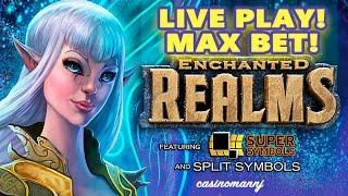 ENCHANTED REALMS Slot - MAX BET! - Live Play! - Slot Machine Bonus
