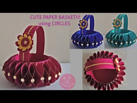 CUTE BASKET WITH CHART PAPER OR A4 PAPER USING CIRCLES | FLOWER GIRL BASKET