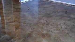 Acid Stained look Decorative Concrete Overlay Kitchen, Living Room by Hawkeye Custom Concrete