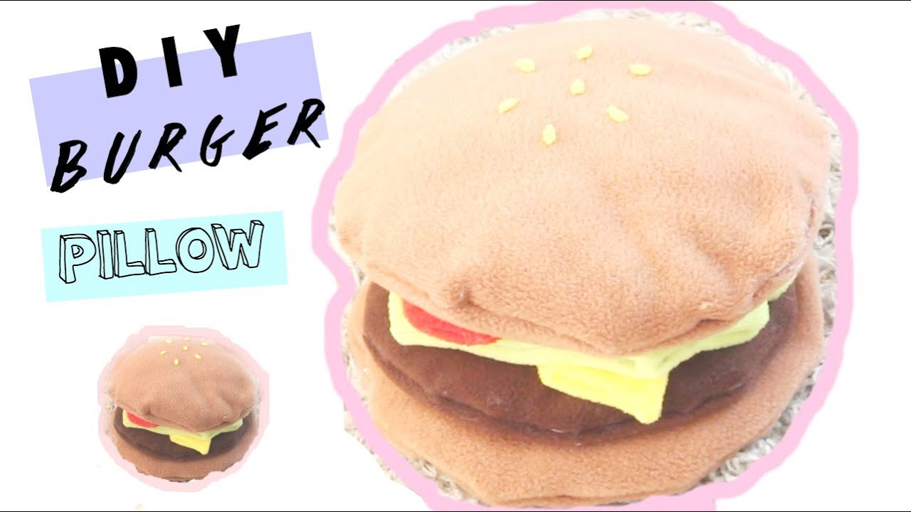 Diy Food Pillows No Sew: 🍔 DIY Room Decor Burger Pillow (NO SEW) 🍔 • heartcindy   YouTube,