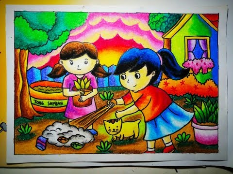 How To Draw Cara Mewarnai Gradasi Crayonoilpastel Menjaga