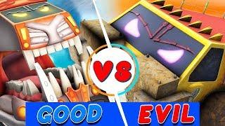 Crypto Trucks   Sasquash vs Funky   Good vs Evil   Trucks Cartoon   Truck Song   Videos For Children
