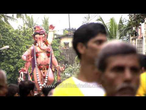 Ganesh idols being taken for immersion :...