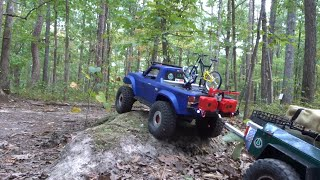 TRX4 SPORT PULLING A TRAILER IN THE FOREST.