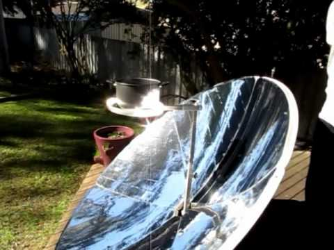the power of the parabolic dish! Sun Cooking tries out it's parabolic solar cooker