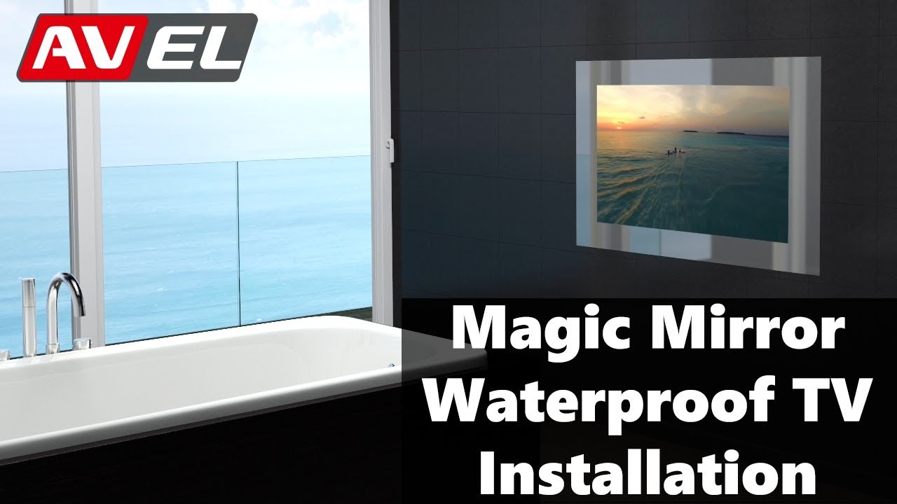 bathroom tv mirror glass magic mirror waterproof tv installation in wall mirrored 16921