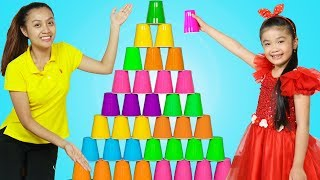 Hana Pretend Play w/ Giant Pyramid Cup Wall Stacking Game Challenge for Kids