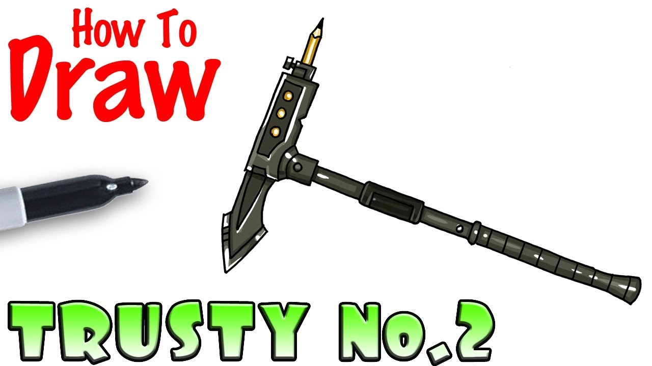 how to draw trusty no 2 pick axe fortnite - pickaxe fortnite drawing