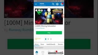First video Roblox mining simulator {No Intro}