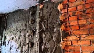 штукатурка стен ,  цементно песчанным  раствором, часть 1(процесс штукатурки при очень толстом до 6-7см слое., 2014-08-29T20:13:22.000Z)