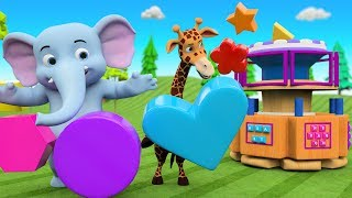 Learn Shapes for Kids with Elephant and Giraffe Cartoon Animals Fun Play Dial Machine Wooden Toy Set