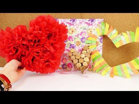 DREI Dekoideen für Valentinstag ♥ Herzen aus Korken, Washi Tape oder Papierblumen | Geschenk Ideen ♥