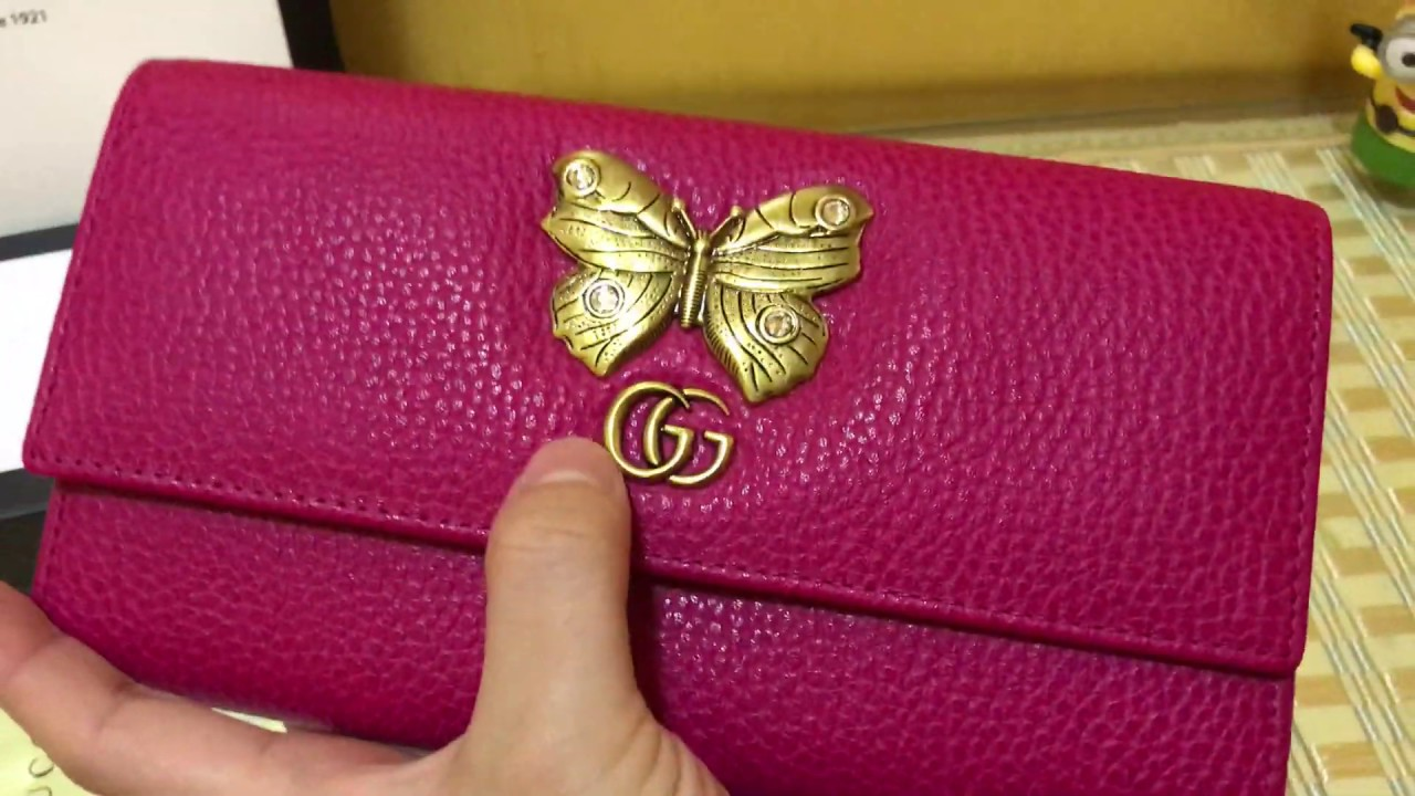 512b5c14ad7f GUCCI PURSE Review for Gucci Leather continental wallet with butterfly PINK