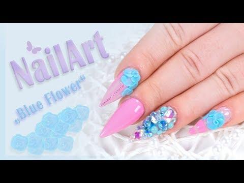 """Nailart: """"Blue Flower"""" mit dem neuen Jolifin LAVENI Plastilin 4D Gel"""