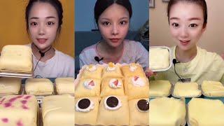 ASMR DESSERT PUFFY POUCH CAKE MUKBANG | KWAI EATING SHOW | 먹방 | CHINESE DESSERT | kuaishou