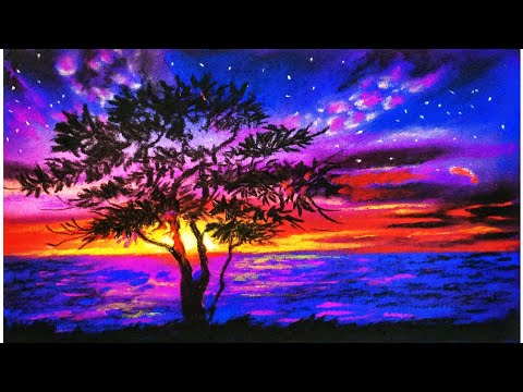 Pastel Painting For Beginners Drawing Of Nature Landscape Realistic Landscape Drawing Youtube