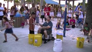 Chris Harris the bucket drummer at clearwater beach