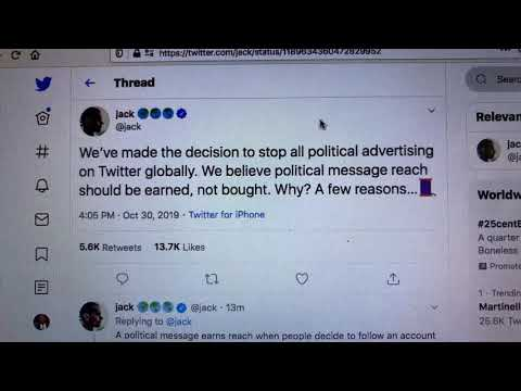 Jack Dorsey Twitter CEO Announces End To Political Ads On Twitter Globally