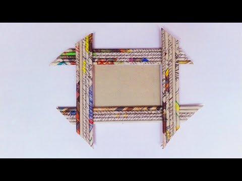 Newspaper PhotoFrame: Easy Craft Newspaper Photo Frames    DIY PhotoFrame