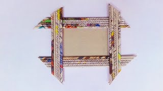 Newspaper PhotoFrame: Easy Craft Newspaper Photo Frames || DIY PhotoFrame