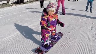 See This 1-Year-Old Girl Snowboard on Her Own