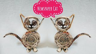 DIY|Newspaper craft|how to make cute cat from newspaper |best out of waste|school project craft