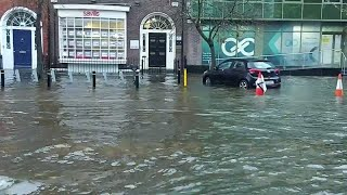Serious flooding in Cork city after high tide and heavy rainfall