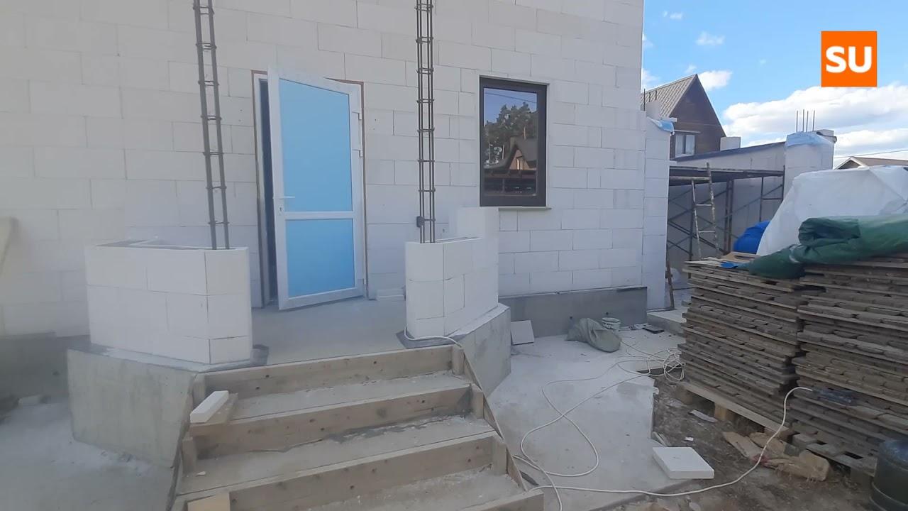 Строим гараж и крыльцо из газобетона на доме Сумароково