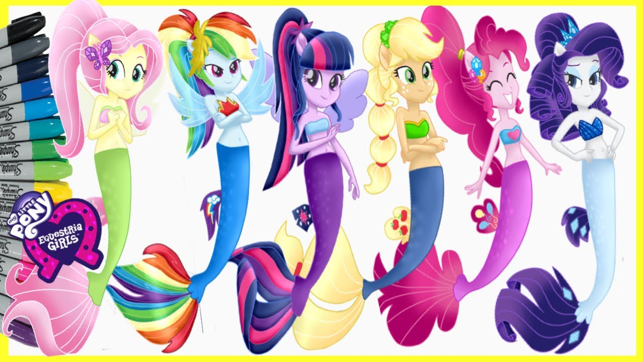 My Little Pony Equestria Girls Seapony Mermaid Coloring Page Mewarnai Kuda Poni Duyung アニメマンガぬりえ Youtube