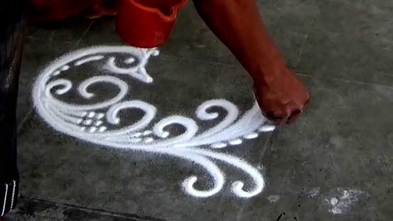 Beautiful Peacock Rangoli How to draw sanskar Bharati ...