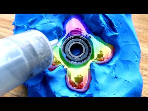 DIY RAINBOW Gallium Fidget Spinner!!!!!!!! How to Make Colorful LIQUID METAL MIRROR SPINNERS!