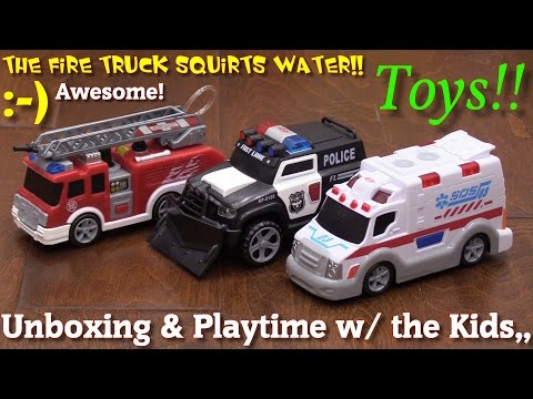 Toy Cars and Trucks for Young Kids: Fire Truck, Ambulance and Police Car Toy Unboxing and Playtime