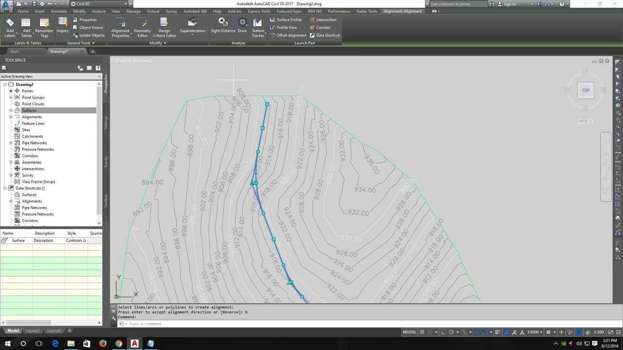 How to create road alignment using - AutoCAD Civil 3D 2017 - YouTube