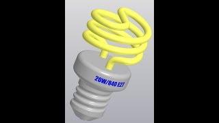 Видеоуроки Компас 3D V18. Лампа энергосберегающая в Компас 3D