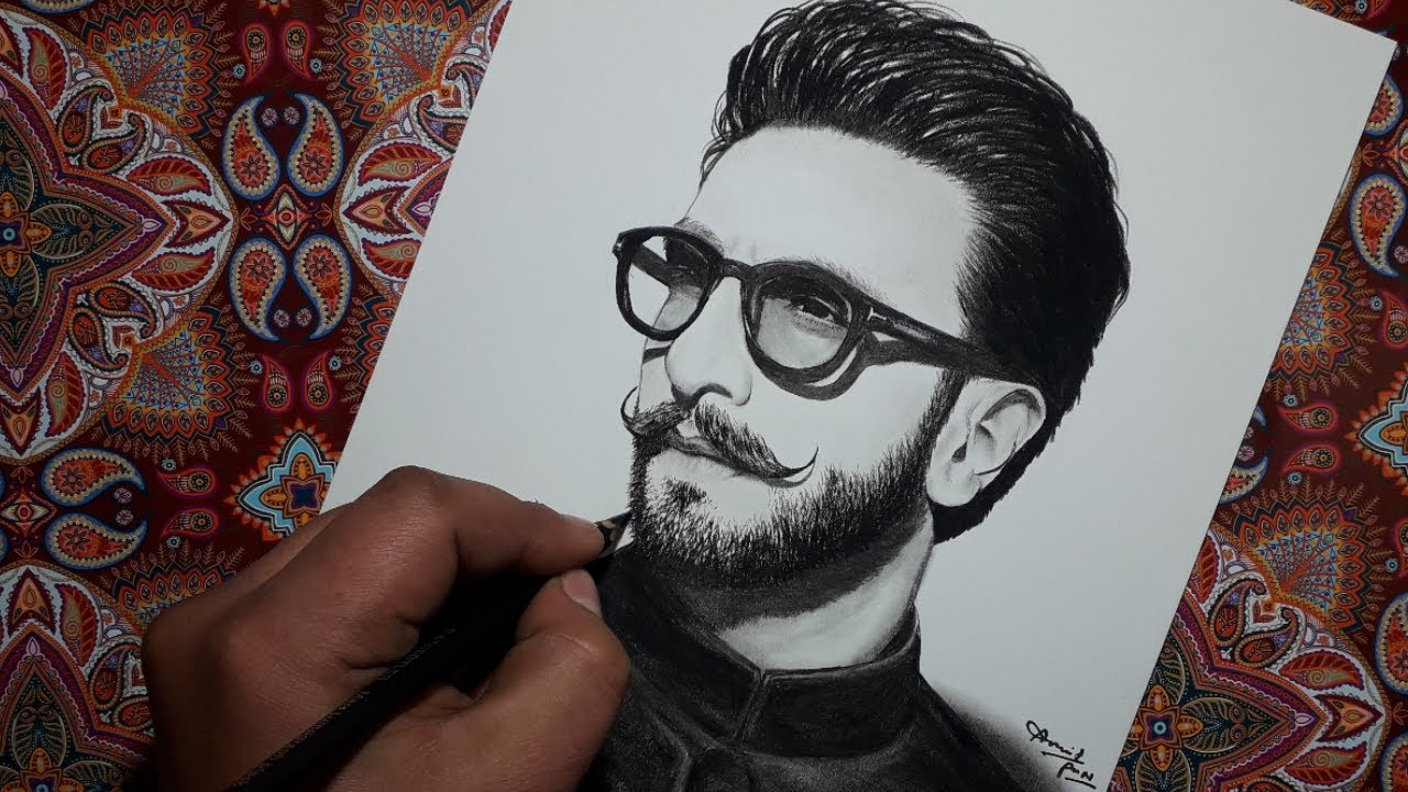 Drawing A Ranveer Singh Bollywood Actor Pencil Drawing Amrit Pun Youtube