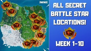 All Fortnite Season 9 Secret Battle Stars Locations (Week 1-10)! - Utopia Challenges Season 9
