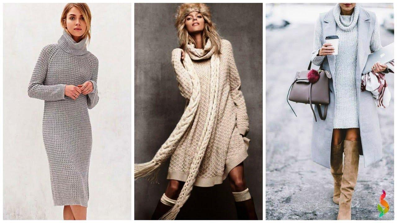С чем носить вязаные платья фото 50 модных идей, новинки зима-весна 2019 Вязаная мода и стиль