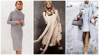 видео Зимние модели платьев спицами и крючком (фото)