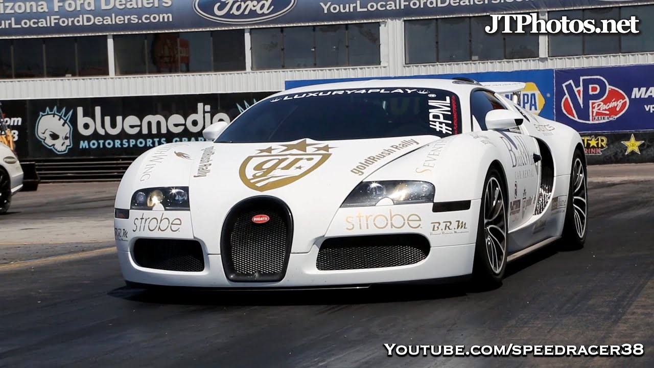 bugatti veyron 1/4 mile drag strip run and ride - youtube