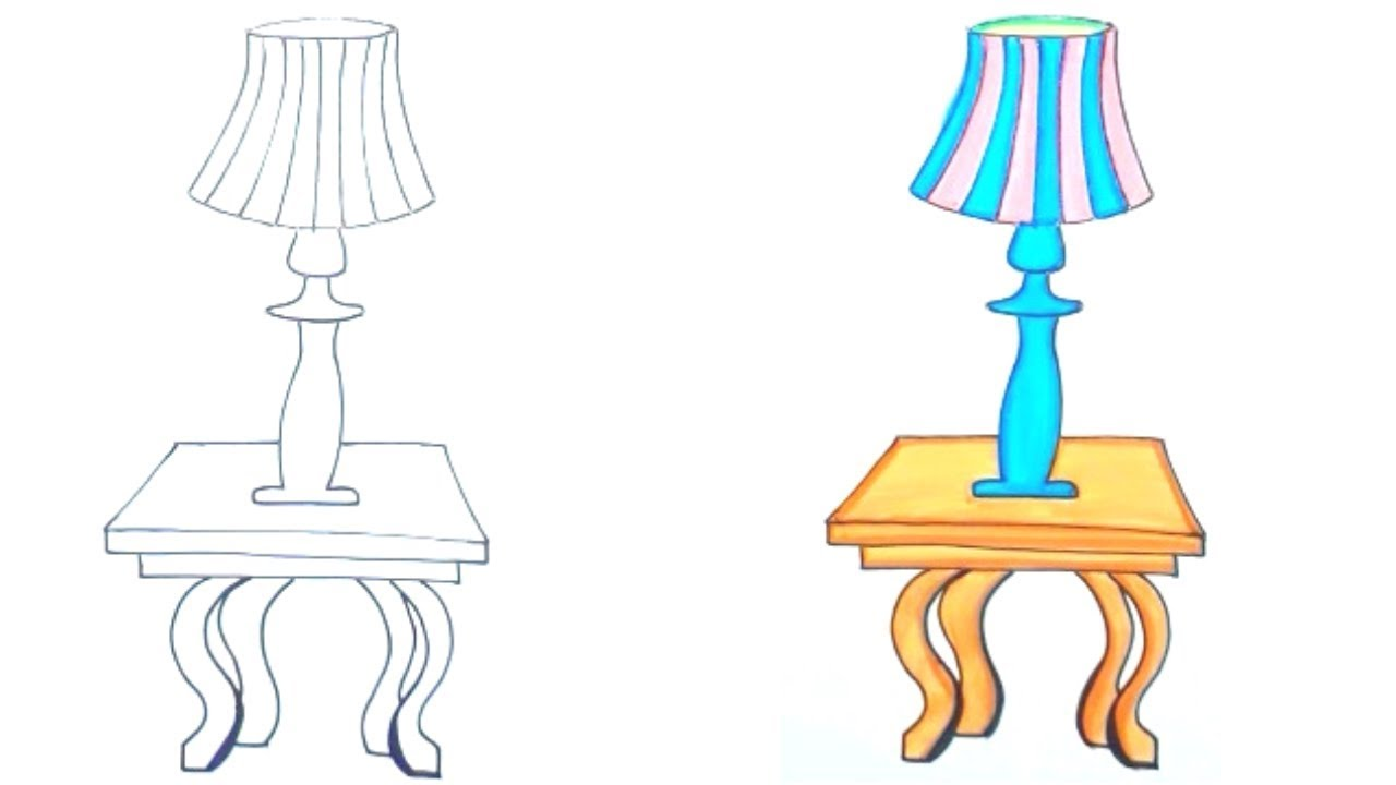How To Draw A Lamp On A Table Youtube